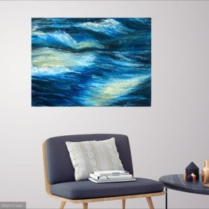 """Rapid water"" Abstract Oil on canvas painting of rapids in a room setting"