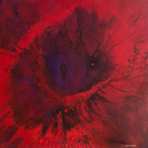"""Red Giant"" Original oil on canvas painting measuring 80 x 80 cm by Devon based artist Catherine Kennedyred giant spin painting"