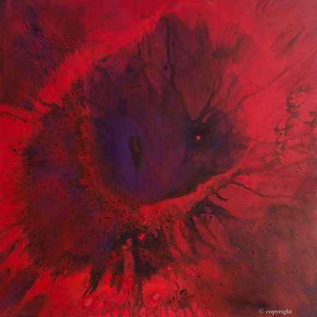 """""""Red Giant"""" Original oil on canvas painting measuring 80 x 80 cm by Devon based artist Catherine Kennedyred giant spin painting"""