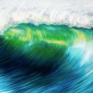Emerald Wave II framed seascape painting on canvas for sale