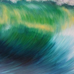 """Emerald Wave II"" original oil on canvas emerald wave crashing, from an original painting by Devon based artist Catherine Kennedy"