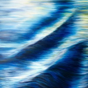 """Languid River"" is an original oil on canvas painting of ripples in a slow flowing river current 60 x 80 cm £350 by Devon based artist Catherine Kennedy. Blues, white and yellows are the predominant colours."