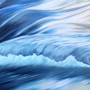 Into the blue ocean waves original oil painting on canvas for sale
