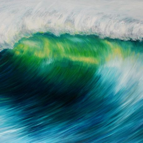 Emerald Wave seascape oil painting on canvas