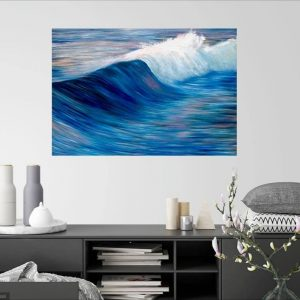 """""""Evening Tide"""" oil on canvas painting of seascape with a wave cresting in the evening light, with dark and light blues, pink, white wave lit by the evening sun. By Devon based artist Catherine Kennedy. This painting measures 100 x 70cm and is for sale at £395."""