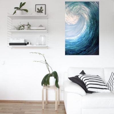 Emerald Surf II giclee print of a large abstract surfing wave in a room setting