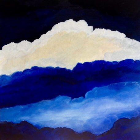 """#artistsupportpledge """"Atmosphere"""" oil on canvas painting of clouds measuring 60 x 60 cm or 23.5 x 23.5 inches. With blue and white clouds and a deep indigo blue sky.#artistsupportpledge"""