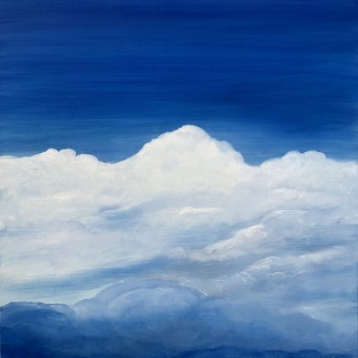 Atomosphere II original oil on canvas painting measuring 60 x 60 cm or 23.5 x 23.5 inches £250. Blue sky with white clouds across the horizon. #artistsupportpledge