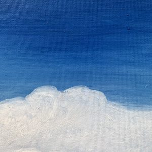 Atomosphere II original oil on canvas painting measuring 60 x 60 cm or 23.5 x 23.5 inches £250. Blue sky with white cumulonimbus clouds across the horizon.