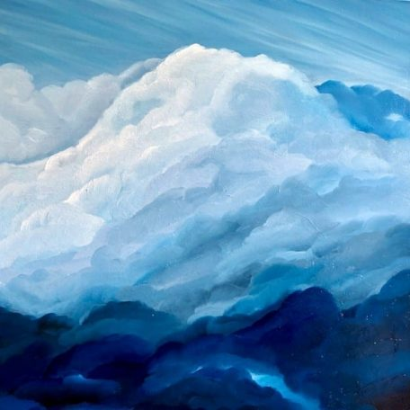 """""""Atmosphere III"""" an original oil on canvas painting. Measuring width 23.5 x height 23.5 x depth 1.5 inches or 60 x 60 cm x 4 cm. Unframed. Ready to hang. Comes with a certificate of authenticity. #artistsupportpledge"""
