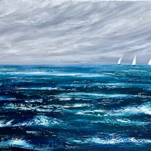 """Racing out at Sea"" original oil on canvas painting measuring 100 x 50 cm or 39.5 x 19.5 inches available at £350"