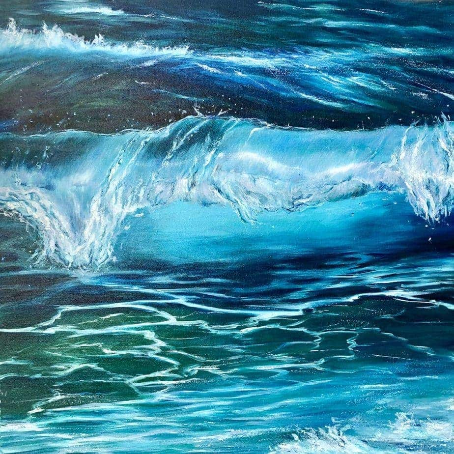 Turquoise Wave II original seascape oil painting on canvas for sale