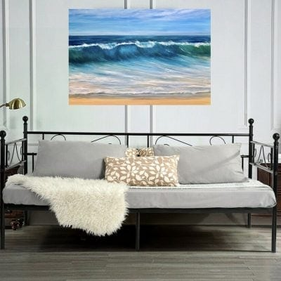 """""""Ocean Beach"""" giclee print in a Room Setting. Available in 3 sizes from £49 - £100"""
