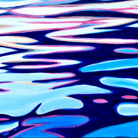 Abstract Blue River Oil on canvas. Width 100 x Height 50 cm or 19.5 x 39.5 inches. Signed. With a certificate of authenticity.