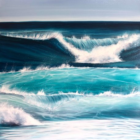 """Ocean Waves"""" Original oil on canvas. Width 80cm x Height 80cm or 31.5 x 31.5 inches. Signed. Unframed. With a certificate of authenticity. Free UK delivery."""