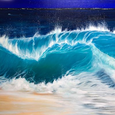 """Night Beach III"" W:40 x H:30 inches oil painting inspired South Devon & Cornish coastline. It shows a turquoise wave cresting at night onto a sandy beach."