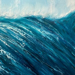 Turquoise Wave VI detail of original oil on canvas painting 120 x 60cm or 47 x 23.5 ins for sale at £425