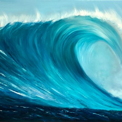 Turquoise Wave VI original oil on canvas painting 120 x 60cm or 47 x 23.5 ins for sale at £425