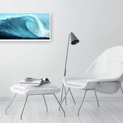 Turquoise Wave VI fine art giclee print in a room setting