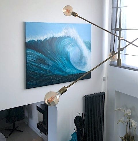 Large wave painting in the stairwell