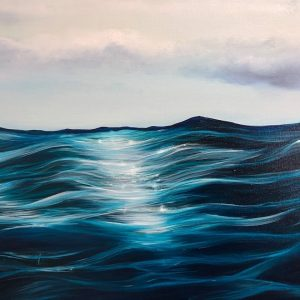 """Into the Blue"" Original oil painting on canvas. Width 122cm x Height 61cm or 48 x 24 inches. Signed. Unframed. With a certificate of authenticity."