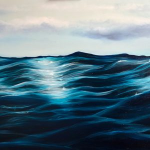 Into the Blue Original seascape oil painting on canvas. Width 122cm x Height 61cm or 48 x 24 inches. Signed. Unframed. With a certificate of authenticity.