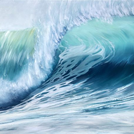 Emerald Waves II large green barrel wave painting on canvas measuring 102 x 76 cm or 40 x 30 inches for sale £450