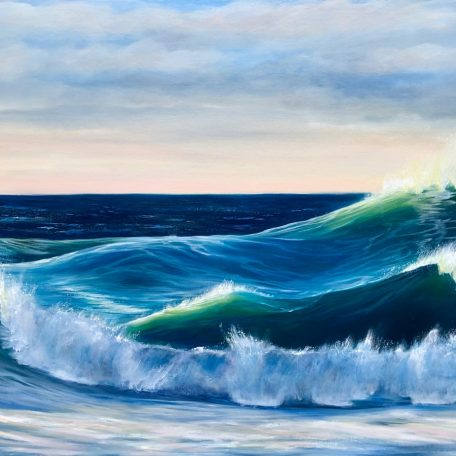 Ocean Waves III large sunset painting oil on canvas for sale online