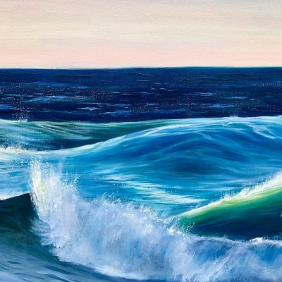 Ocean Waves III detail of large sunset painting oil on canvas for sale online