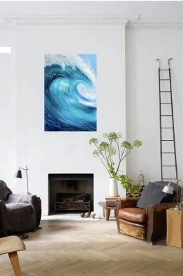 Turquoise Ocean Wave detail of an Original oil on canvas seascape painting for sale online.