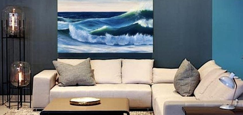 Ocean Waves III in a room setting. Large sunset painting oil on canvas for sale online