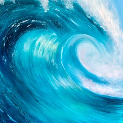 Turquoise Ocean Wave an Original oil on canvas Measuring 23.5 x 35.5 inches or 60 x 90 cm. Signed. Comes with a certificate of authenticity.