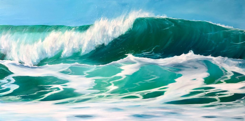 Sea Green Waves original seascape oil painting on canvas for sale. Width 122cm x Height 61cm or 48 x 24 inches. Signed. Unframed. With a certificate of authenticity.