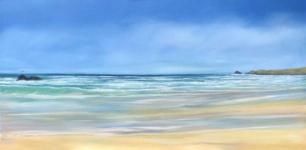 Perranporth Beach Waves oil on canvas painting 24 x 48 inches for sale £435