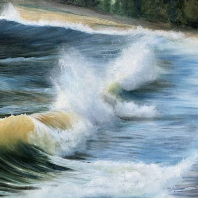 Stormy Seas Torquay original oil painting on canvas measuring 60 x 90 in a white frame for sale at £400 at the annual art exhibition at 5 Fleet Walk Torquay runs throughout July and August 2021