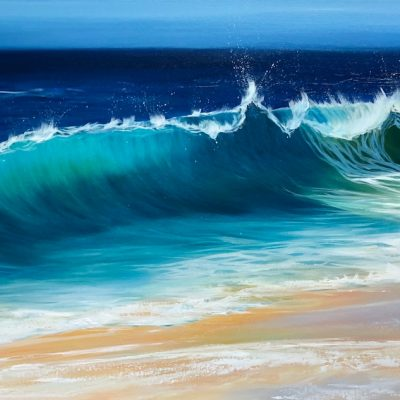 """Ocean Beach II"" oil on canvas: Width 120cm x Height 60cm. Large turquoise wave cresting onto a sandy beach."