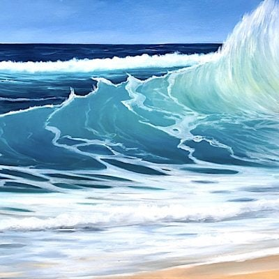 Turquoise Waves III oil on canvas seascape painting for sale