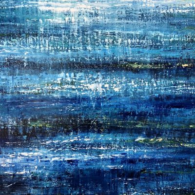 Abstract Blue River IV original abstract seascape Oil on canvas painting for sale. Width 80 x Height 60 cm or 31.5 x 23.5 inches. Signed. With a certificate of authenticity. Ready to hang.