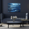 Abstract Blue River IV in a room setting. original abstract seascape Oil on canvas painting for sale. Width 80 x Height 60 cm or 31.5 x 23.5 inches. Signed. With a certificate of authenticity. Ready to hang.