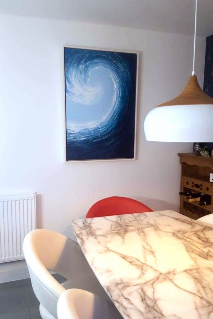 This wave painting was a commission for a dining room