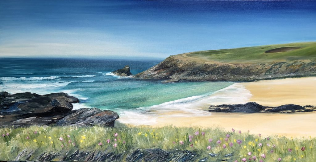 This commission was based on a favourite photo of Trevone Bay