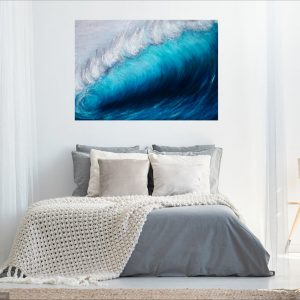 Wave Breaking large oil on canvas painting in a room setting